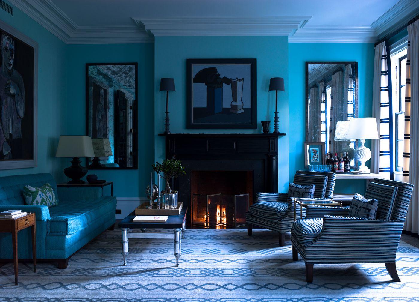 Гостиная в синем цвете дизайн