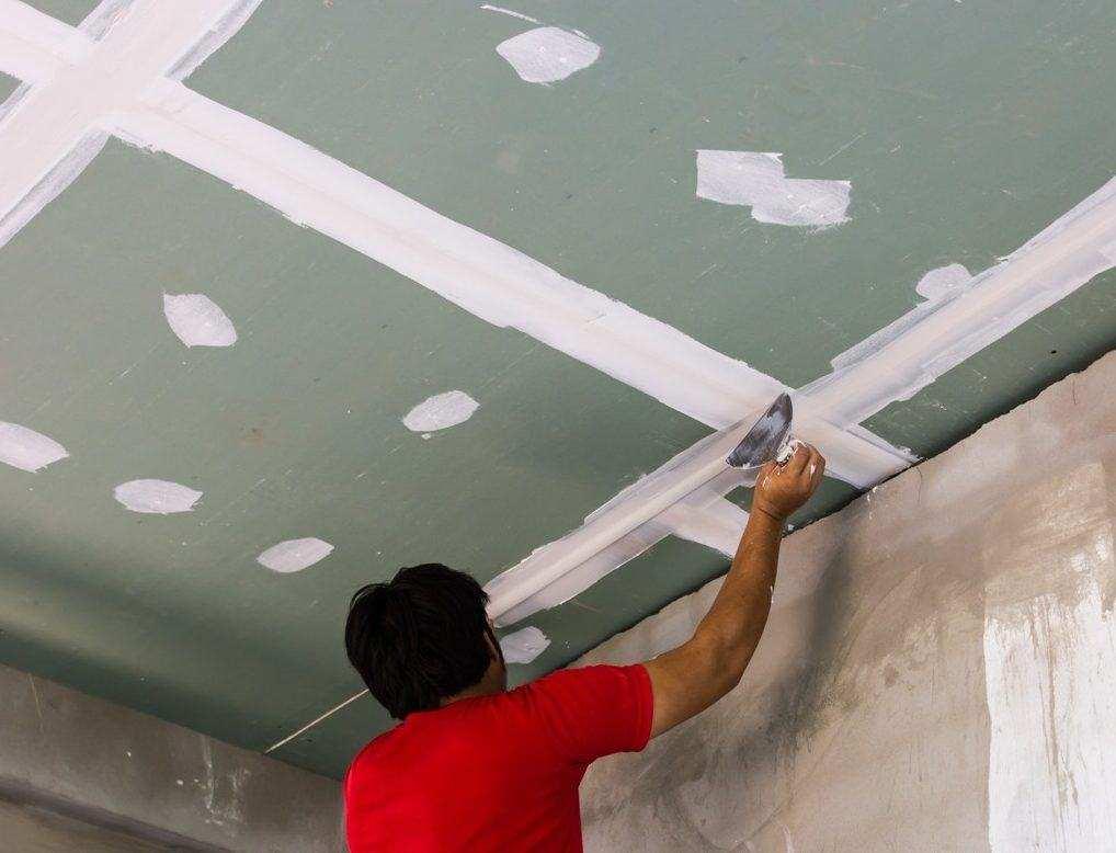Шпаклевка потолка своими руками из гипсокартона