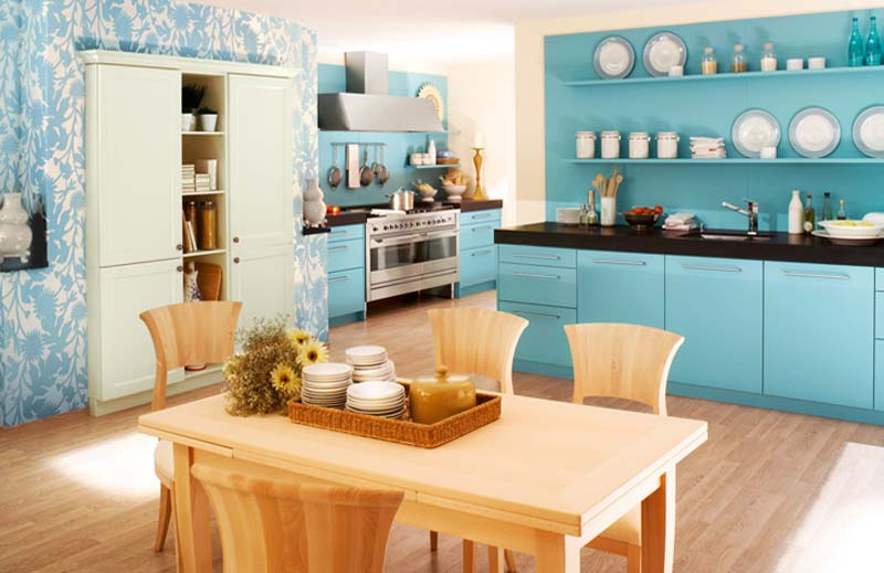Фото дизайн кухни синие стены
