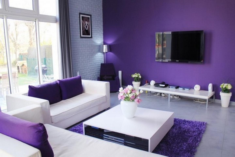 Сочетание фиолетового в интерьере гостиной фото