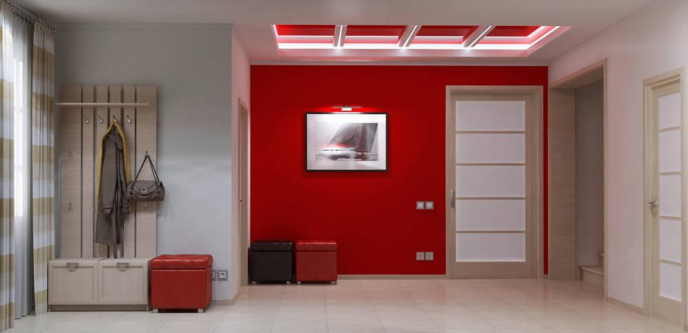 Дизайн прихожей в красном цвете