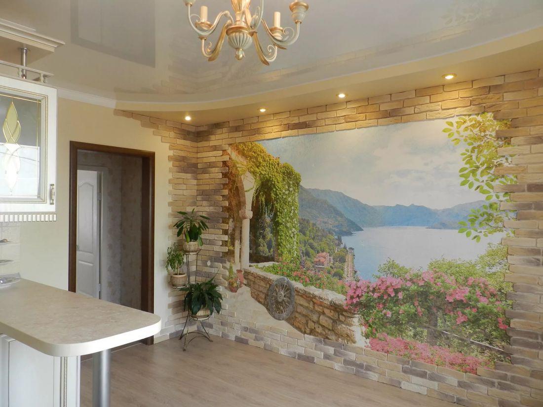Дизайн с фреской на стену на кухню