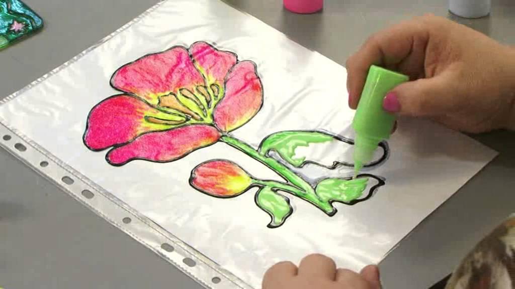 Витражные рисунки своими руками красками