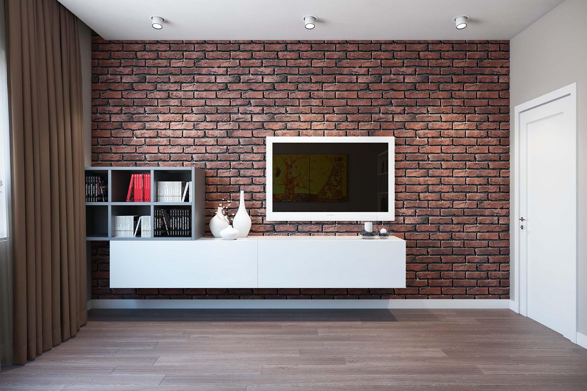 фото комнаты с обоями в виде кирпичей роль место