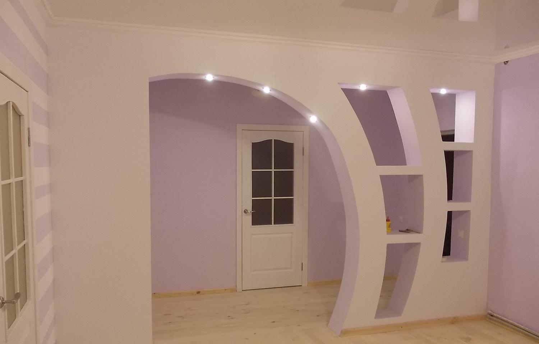фото арок из гипсокартона на кухню дома