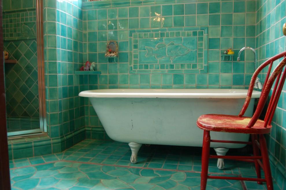 плитка для туалета бирюзовая с коричневым ткани