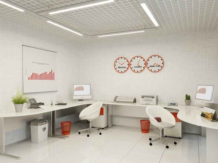 Светлые стены в офисе