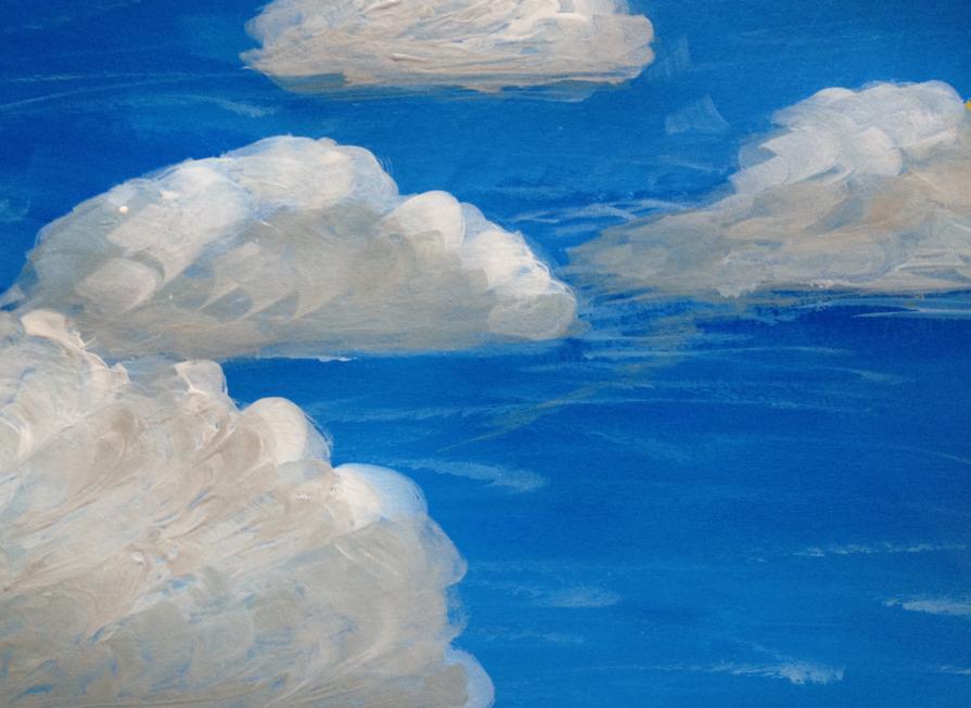 грамм небо с облаками рисунок гуашью небывалой красоты, окруженная