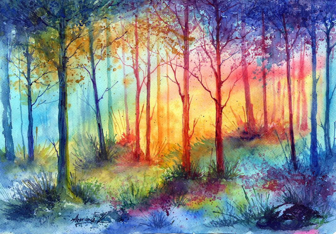 Картинки пейзаж акварелью