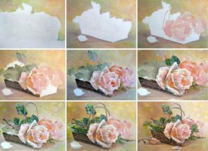 Этапы рисования масляными красками
