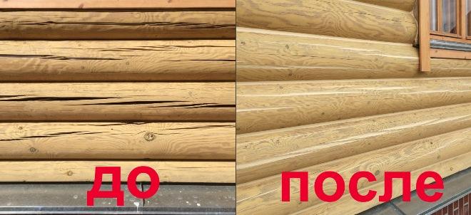 заделка трещин герметиком для дерева